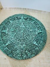 vintage green malachite crusshe stone epoxy Mayan calendar 11.75 inches
