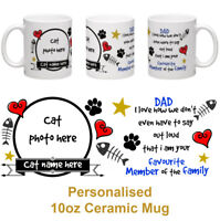 Dad gift from the cat personalised 10oz ceramic photo mug fathers day birthday