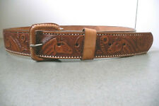 Vintage Tooled Leather Belt - Size 36 - made in Mexico