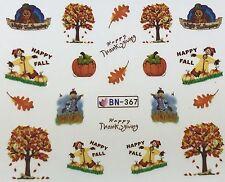Nail Art Water Decals Happy Thanksgiving Fall Autumn Turkey Scarecrow Leaf BN367