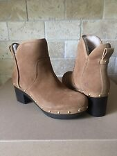 UGG CAM II CHESTNUT SUEDE HIGH HEEL ANKLE CLOG BOOTIES BOOTS SIZE 9 WOMENS