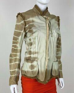 Roberto Cavalli 4 6 US 40 42 IT S Brown Leather Silk Zip Jacket Coat Runway Auth