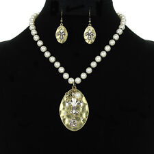 NEW !  Fleur de lis  Faux Pearl  Necklace and Earring Set- Gold