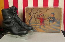 Vintage Basco Black Leather Youth Ice Skates w/Original Box Canadian Royal Sz.3