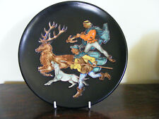 "Vintage Black  Forest  ?  Enamel  Hunting  Decorated  Black 10.1/2"" Wall  Plate"