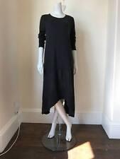 LAGENLOOK LMT Italian Cotton/Linen Long Sleeve Dress BLACK - UK 10 12 14 16 18