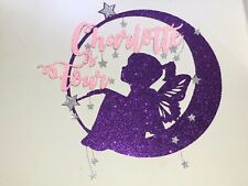 Personalised Moon Fairy name and age glitter cake topper, with dangle stars ⭐️