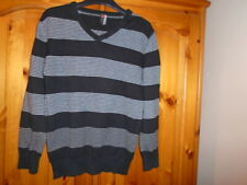 Boys black and white striped long sleeve v-neck jumper, BHS (BACKFLIP), 8 years