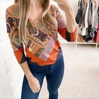 Etro Mixed Media Silk Sweater Orange Size 44