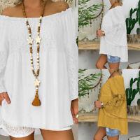 Plus Size Women Cotton Lace Floral Top Blouse Off Shoulder Loose Tunic Shirt Tee
