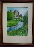 Conwy Castle Pen Water Colour painting North Wales Welsh Art George J Drought