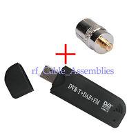 FM+DAB USB DVB-T Tuner Receiver RTL2832U+R820T + MCX plug to TV female Adapter