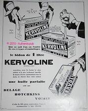 PUBLICITE ANCIENNE 1929 HUILE KERVOLINE LES BIDONS A GOULOT PASTILLE OIL CAR PUB