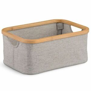 Collapsible Bamboo Basket Rectangular Storage Bin For Bath Towel Laundry Cloth