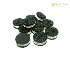 10 Miniature Oreo Sandwich Biscuit Chocolate Cookies Dollhouse Food Bakery Decor