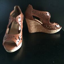CROWN VINTAGE Brown Cut Out Vegan Synthetic KAYCEE Cork Wedge Heel Sandal Size 9