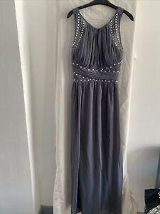 QUIZ Grey Sleeveless Jewelled Maxi Dress Size UK 14