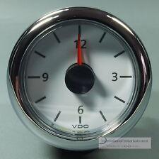 VDO OROLOGIO QUARZO Viewline clock Marine 12v Bianca Cromo Anello arrotondato