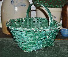 BEST Antique 1800's Connecticut Hand Woven Ol Green Gathering Basket Splint AAFA