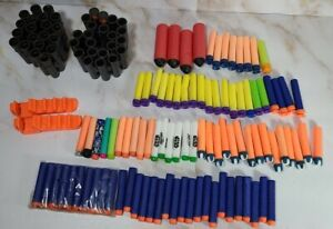 HUGE Lot of Nerf Accessories- 2 Ammo Belts, Clips, and Various Types of Darts
