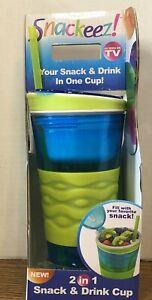 Snackeez 16 oz Beverage & 8 oz Snack Holder w/Lid & Straw - 2 in 1 Blue & Green