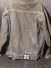 VTG Delf Jean Innovation Mens Jacket Grey 2XL Stressed Denim Coat Japanese Patch