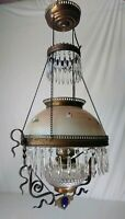 Mid 1800's Antique Electrified Victorian Oil Lamp Chandelier