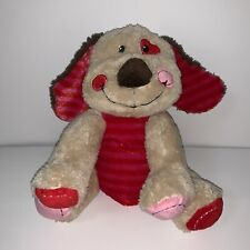 Dan Dee Collectors Choice Dog Striped Belly Ears Valentine Red Pink Brown Plush