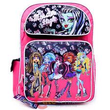 """Monster High School Backpack 16"""" Large Book Bag - Frankie 6 Girls Pink Black"""