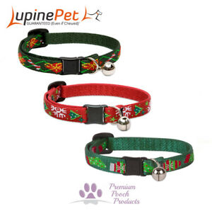Lupine XMAS Cat Collar with Bell and Safety Release Buckle - Choice of designs