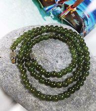 "Vintage Art Deco Natural Green Jade Beads Necklace 16"""