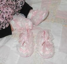 """Infant Girls Size 2~Pink Lacy Crib Shoes (Soft Bottoms) 4.25"""" (11 cm) New No Tag"""