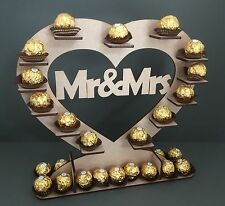 Y17 30x Choc Mr & Mrs Ferrero Rocher Heart Wedding Table Centre Stand Display