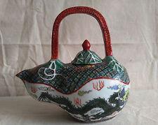 Asian Antiques Gourd Ewer Ceramic Porcelain Teapot Hand Painted Dragon & Phoenix