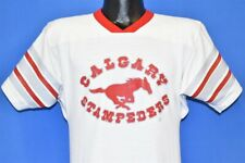 vintage 80s CALGARY STAMPEDERS CFL JERSEY WHITE RED GRAY STRIPES t-shirt SMALL S