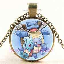 Vintage Pokemon Water Evolutions Cabochon Glass Dome Bronze Pendant Necklace