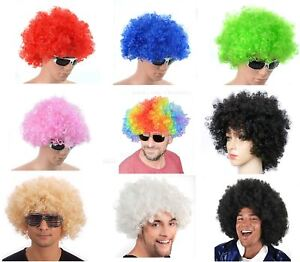 Afro Wig Curly Hair Fancy Dress Party Disco Clown Football Rugby Fun Costume 70S
