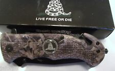 KNIFE, FIRST RESPONDER, WITH LIVE FREE OR DIE ON HANDLE AND BLADE, BLACK BLADE