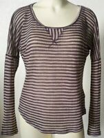 Splendid Pullover Striped Tee Sheer Knit Cotton Size M Long Sleeve Scoop Neck