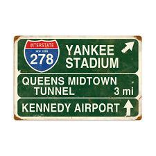 NEW YORK INTERSTATE Metall Schild 56cm YANKEE STADIUM MIDTOWN KENNEDY USA STREET