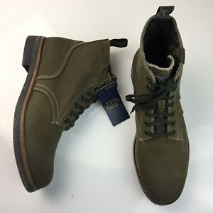 NEW Ralph Lauren Polo Country Army Boots Classic Olive Waxed Canvas Mens Size 10