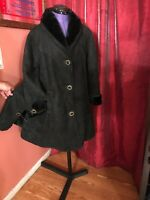 Gorgeous MARCO GIANOTI BLACK Suede Shearling Coat Size M