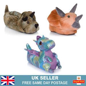 Kids Slippers   Boys Girls Novelty 3D Dinosaur Dragon Childrens Slippers UK