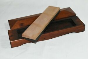 Vintage Natural Belgian Coticule?? Sharpening Stone in Mahogany Box