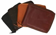 Genuine Leather Men's Zipper Zip-Around Organizer Bifold Wallet Black Brown Tan!