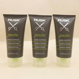 LOT OF 3 Tubes RUSK Hair Styling Paste DEFINE & SEPARATE Medium Hold 4.5oz