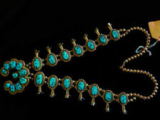 Navajo Squash Blossom Necklace, Sterling Silver & Sleeping Beauty Turquoise