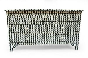 In Stock. Abacus & Hunt Bone Inlay Chest of Drawers BLACK ZIG ZAG