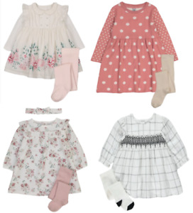 GIRLS LONG SLEEVE DRESSES (VARIOUS DESIGNS) WITH TIGHTS/HEADBAND  - NEW