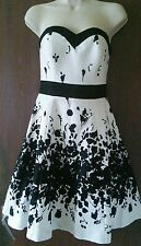 Beautiful Jane Norman black/white  fully lined strapless fit & flare dress 6
